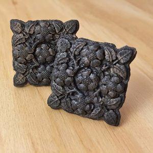 Matte Glitter Black Square Flower Medallion Studs